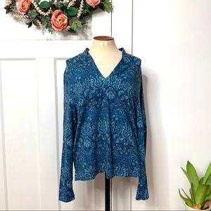 Talbots Blue Paisley Vneck Long Sleeve Top